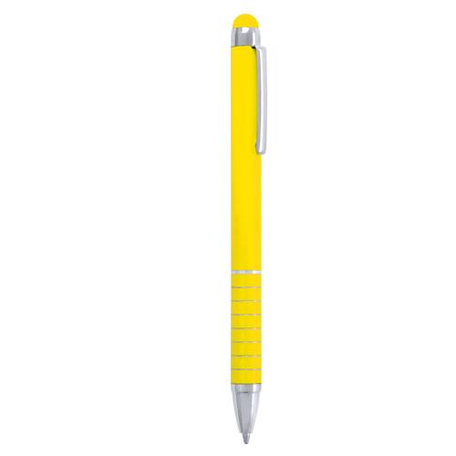 bolígrafo plástico con puntero táctil amarillo