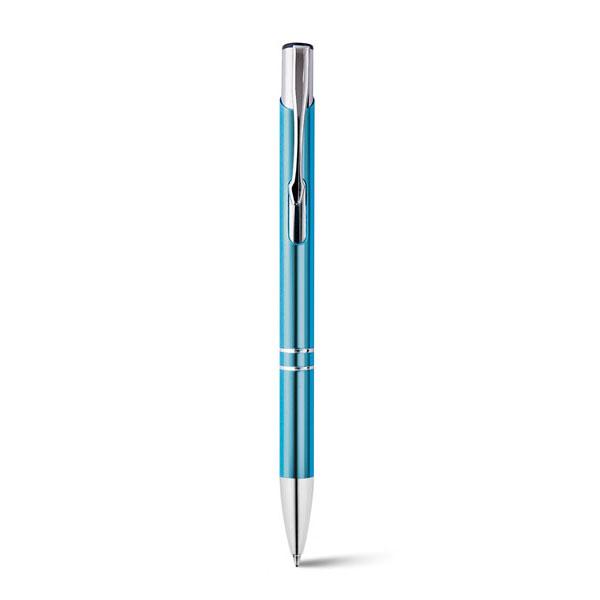 bolígrafo metálico aluminio turquesa