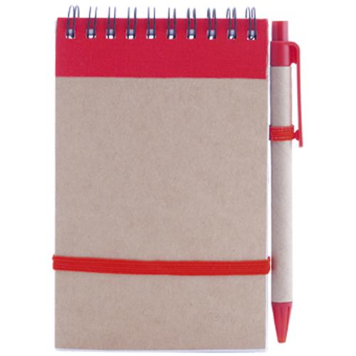 Libreta cartón reciclado vertical rojo
