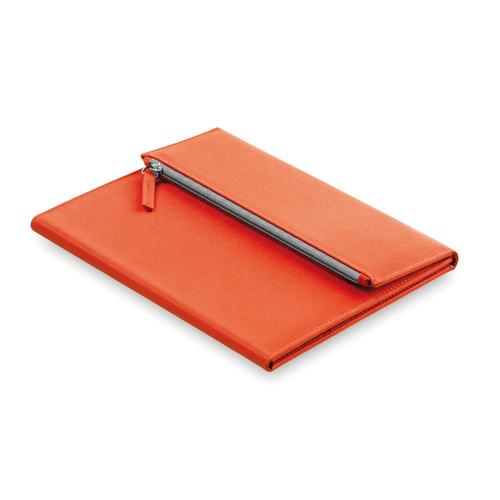 Carpeta microfibra con estuche naranja