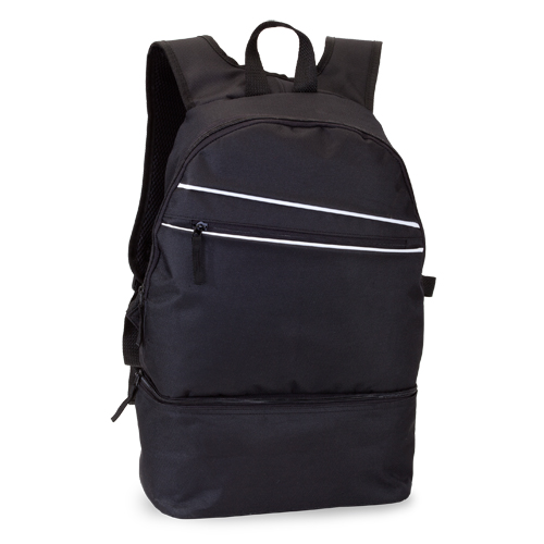 mochila poliéster con zapatero negra