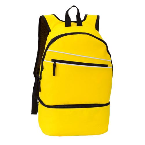 mochila poliéster con zapatero amarillo