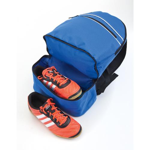 mochila poliéster con zapatero azul
