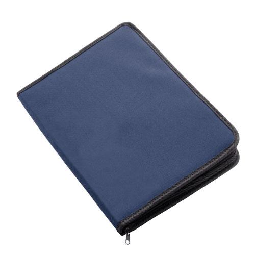 Carpeta poliéster con cremallera azul