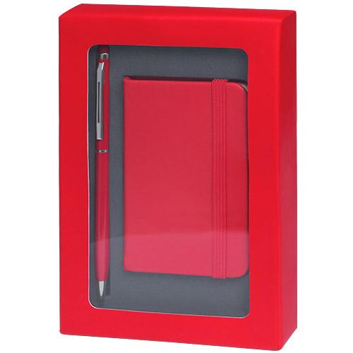 Set libreta y bolígrafo rojo
