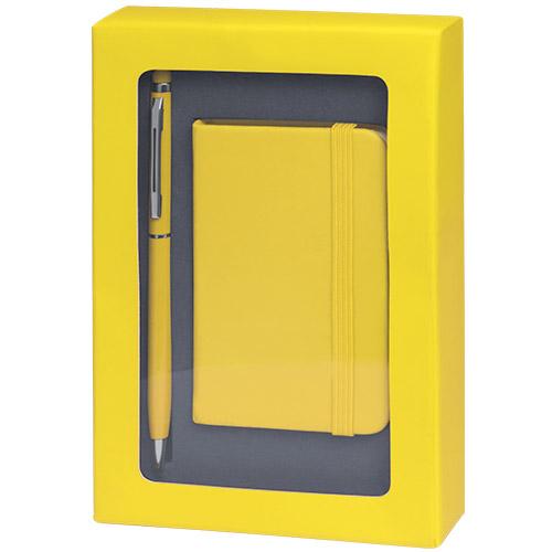 Set libreta y bolígrafo amarillo