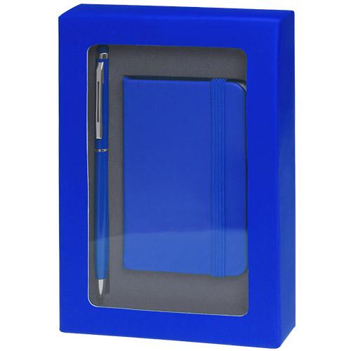 Set libreta y bolígrafo azul