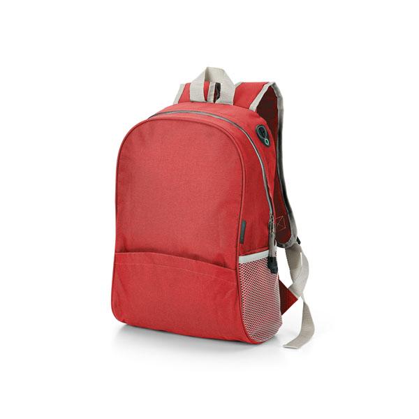 Mochila con bolsillos laterales en red roja