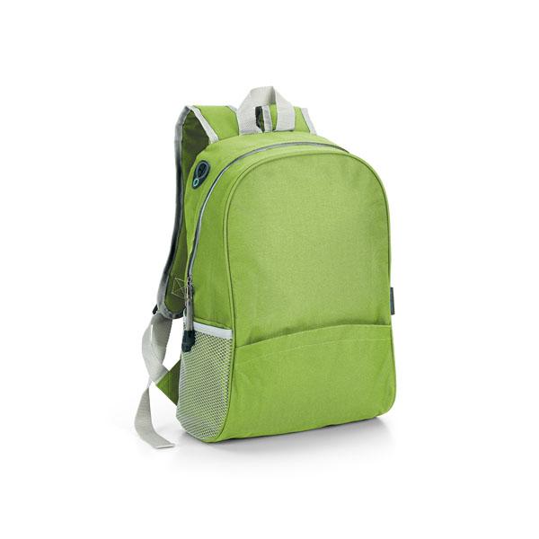 Mochila con bolsillos laterales en red verde