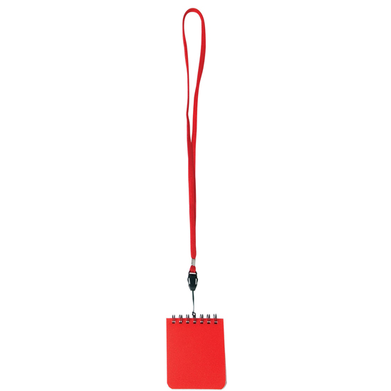 Libreta mini con lanyard rojo