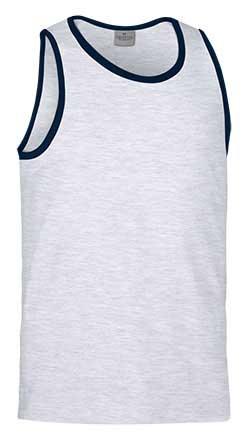 Camiseta de Algodón sin mangas unisex bicolor azul gris