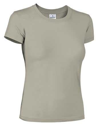 Camiseta mujer ajustada manga corta beige