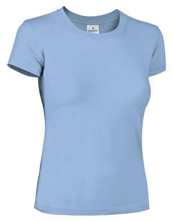 Camiseta mujer ajustada manga corta celeste