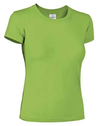 Camiseta mujer ajustada manga corta verde manzana