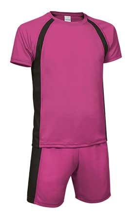 Conjunto deportivo camiseta y pantalón fuxia negro