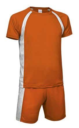 Conjunto deportivo camiseta y pantalón naranja blanco