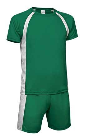 Conjunto deportivo camiseta y pantalón verde blanco