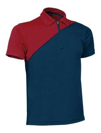 Polo Técnico bicolor y cremallera rojo azul