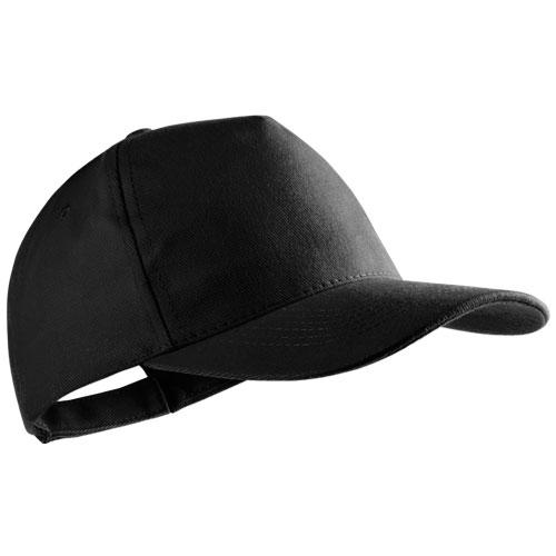 Gorra algodón peinado 5 paneles negra