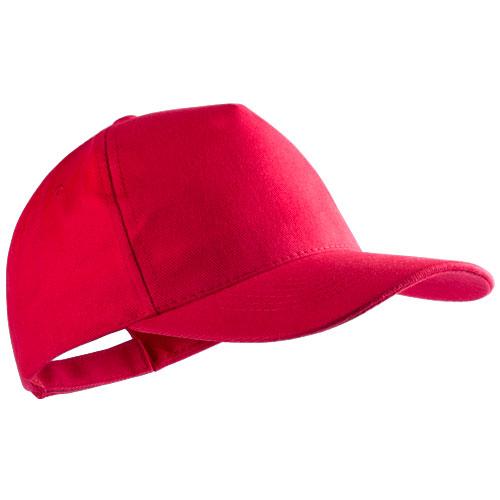Gorra algodón peinado 5 paneles roja