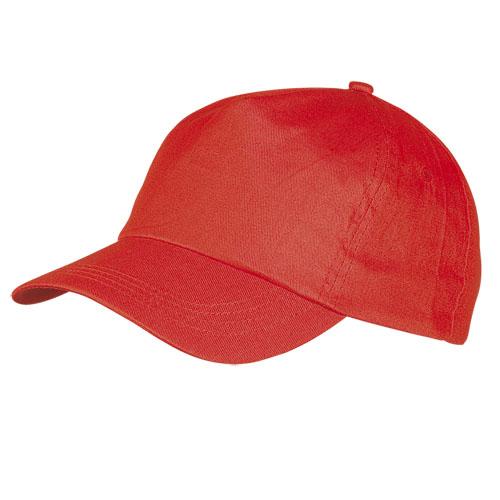 Gorra algodón básica 5 paneles roja