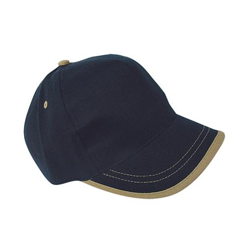 Gorra algodón linea en visera 5 paneles azul marino