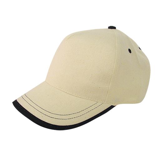 Gorra algodón linea en visera 5 paneles beige