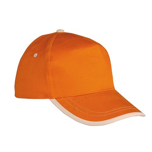 Gorra algodón linea en visera 5 paneles naranja