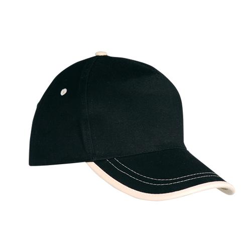 Gorra algodón linea en visera 5 paneles negra