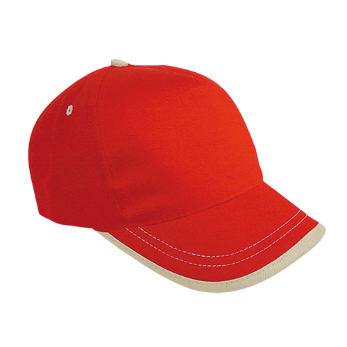 Gorra algodón linea en visera 5 paneles roja