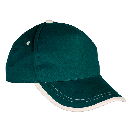 Gorra algodón linea en visera 5 paneles verde