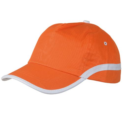 Gorra algodón lineal 5 paneles naranja