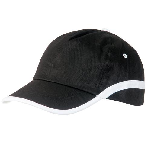 Gorra algodón lineal 5 paneles negra