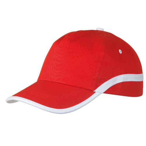 Gorra algodón lineal 5 paneles roja